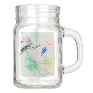 fun happy colorful glass mason jar