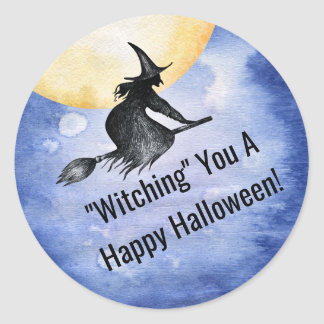 Fun Happy Halloween Flying Witch Classic Round Sticker