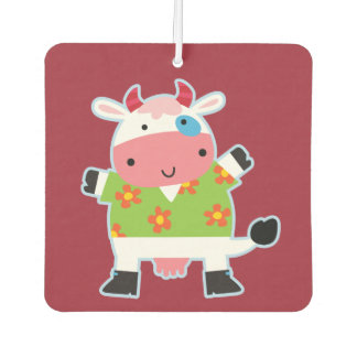 Fun Hawaiian Shirt Cartoon Cow Car Air Freshener