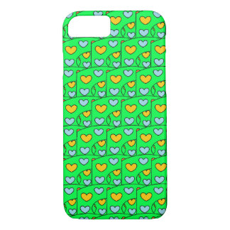 Fun Hearts Design Lime Green iPhone 8/7 Case