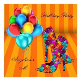 FUN High Heel Shoes Birthday Party Balloons 3 13 Cm X 13 Cm Square Invitation Card