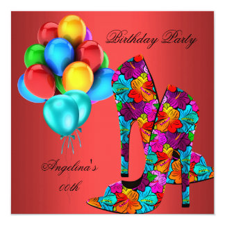 """FUN High Heel Shoes Birthday Party Rust Red Teal 5.25"""" Square Invitation Card"""