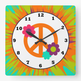 Fun Hippie peace sign wall clock