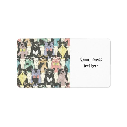 Fun,hipster,cat,pattern,trendy,cute,girly,modern, Address Label