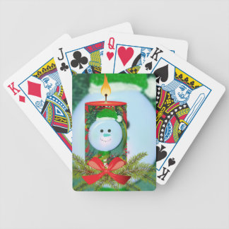 Fun Holiday Spirit Candle Overlay Bicycle Playing Cards