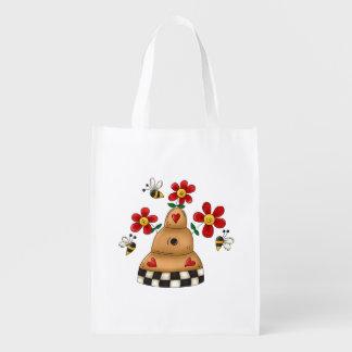 Fun honey beehive, flowers, bees reusable grocery bag