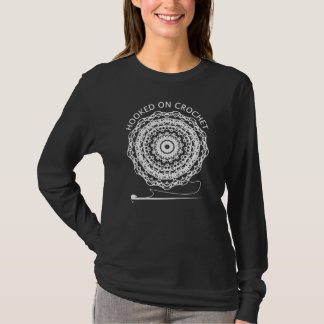 Fun Hooked On Crochet Themed Pretty Doily Circle T-Shirt