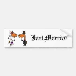Fun Horse Bride and Groom Wedding Design Bumper Sticker