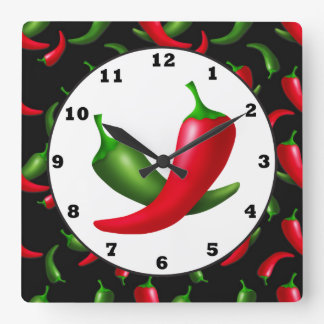 Fun Hot peppers kitchen wall clock