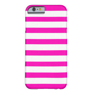 Fun Hot Pink and White Striped Pattern Barely There iPhone 6 Case