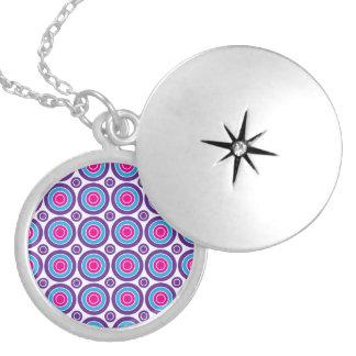 Fun Hot Pink Purple Teal Concentric Circles Design Custom Necklace
