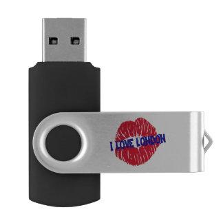"""Fun """"I Love London"""" red lipstick kiss subway sign, Swivel USB 2.0 Flash Drive"""
