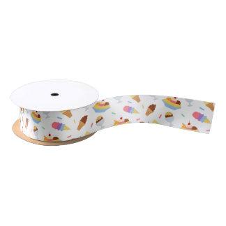 Fun ice cream party pattern ribbon satin ribbon