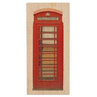 Fun Iconic Red London Telephone Box Wood USB 2.0 Flash Drive