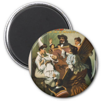 Fun in a music hall 6 cm round magnet