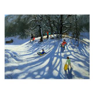 Fun in the snow Morzine France Postcard
