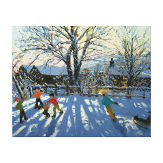 Fun in the snow Tideswell Derbyshire Canvas Prints