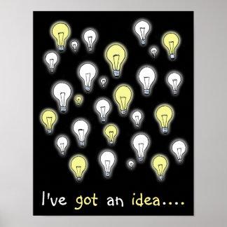 Fun I've Got an Idea Light Bulbs Inspiration Poster