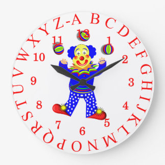 Fun Juggling Circus Clown Alphabet Picture Large Clock
