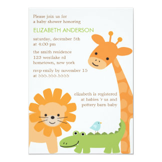Fun Jungle Animals Baby Shower Card
