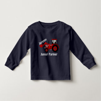 """Fun """"Junior Farmer"""" and """"Name"""" Red Loader Tractor Toddler T-Shirt"""