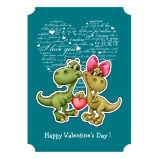 Fun Jurassic Love Valentine's Day Flat Cards 13 Cm X 18 Cm Invitation Card