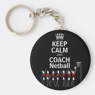 Fun Keep Calm and Coach Netball Design Basic Round Button Key Ring