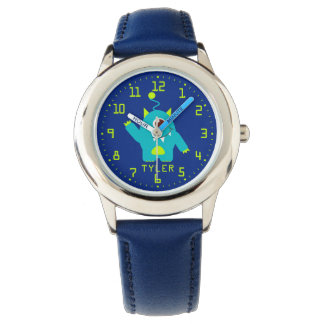 Fun kids alien blue aqua add your name wrist watch