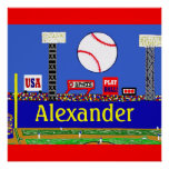 Fun Kids Baseball Personalised Poster Art Gift