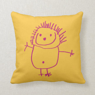 Fun kids drawing custom pillow with funny man