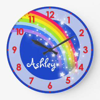 Fun kids rainbow name blue wall clock