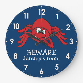 Fun kids spider beware named wall clock