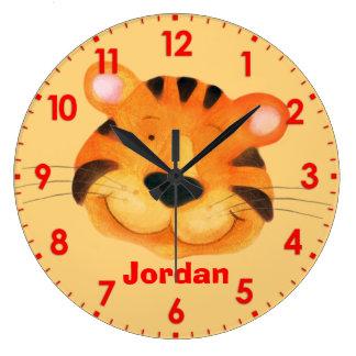 Fun kids tiger name orange wall clock