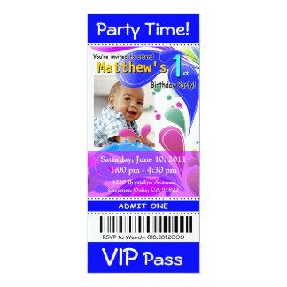 Fun Kids VIP Pass Event Ticket Photo Party (blue) Custom Invitations