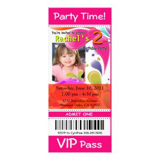 Fun Kids VIP Pass Event Ticket Photo Party fuschia Announcement
