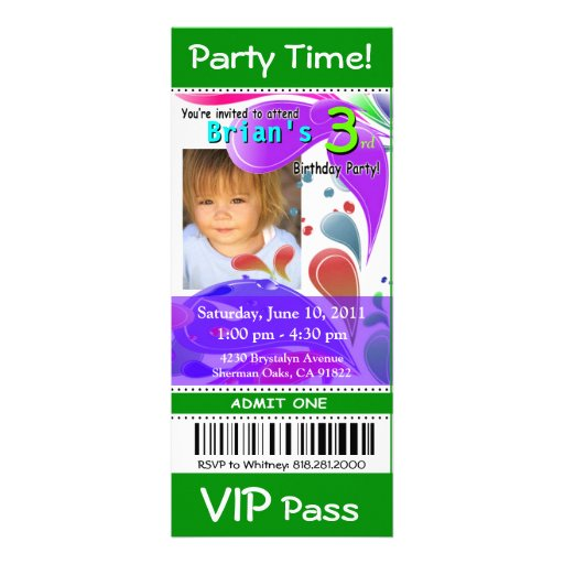 Fun Kids VIP Pass Event Ticket Photo Party (green) Custom Invite