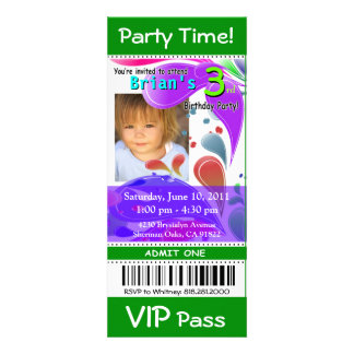Fun Kids VIP Pass Event Ticket Photo Party (green) Invitation