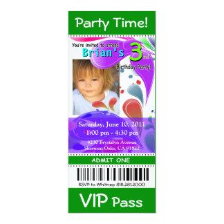 Fun Kids VIP Pass Event Ticket Photo Party (green) 10 Cm X 24 Cm Invitation Card