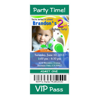 Fun Kids VIP Pass Event Ticket Photo Party jade Custom Announcements