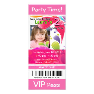 Fun Kids VIP Pass Event Ticket Photo Party (pink) Personalised Invitation
