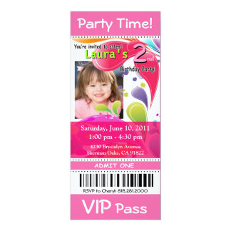 Fun Kids VIP Pass Event Ticket Photo Party (pink) Invite