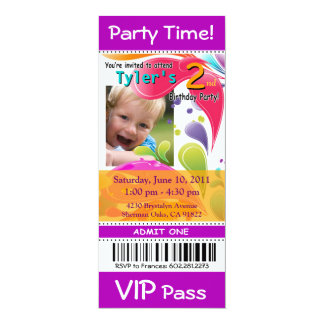 Fun Kids VIP Pass Event Ticket Photo Party purple Personalized Invitation