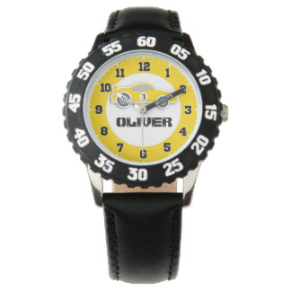 Fun kids yellow car name & age wrist watch