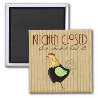 Fun Kitchen Closed Comic Chicken Magnet
