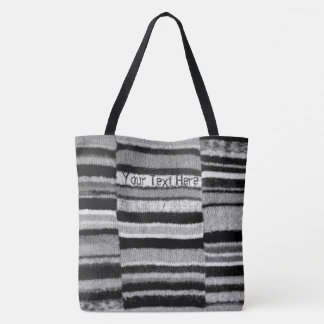 fun knitted black white striped original design tote bag