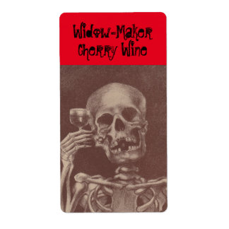 Fun Label Widowmaker Homemade Wine Skeleton toast Shipping Label