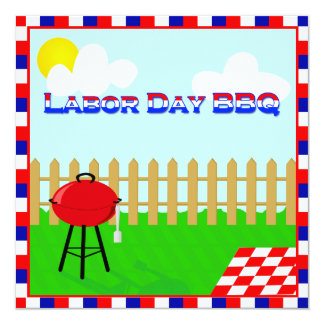 Fun Labor Day BBQ Patriotic Party Invitation