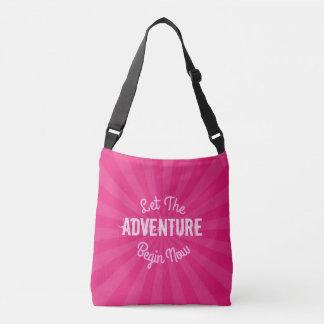 Fun Let The Adventure Begin Pink Starburst Crossbody Bag