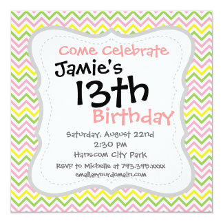 Fun Lime Green Pink Yellow and White Chevrons 13 Cm X 13 Cm Square Invitation Card