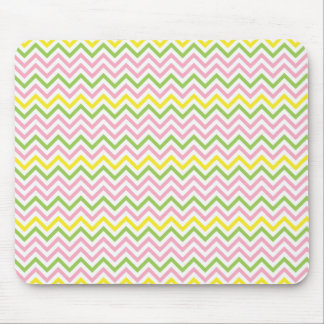 Fun Lime Green Pink Yellow and White Chevrons Mouse Pad